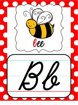 Cursive Alphabet Posters - Black, White & Red Polka Dot