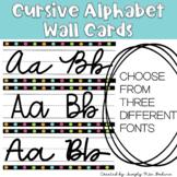 Cursive Alphabet Posters - Black and Bright Dots