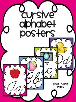 Cursive Alphabet Posters: Bright