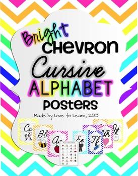 Cursive Alphabet Posters - Bright Chevron