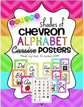 Cursive Alphabet Posters - Bright Shades of Chevron
