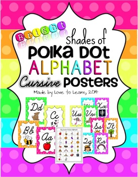 Cursive Alphabet Posters - Bright Shades of Polka Dot