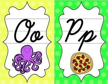 Cursive Alphabet Posters - Bright Shades of Polka Dot