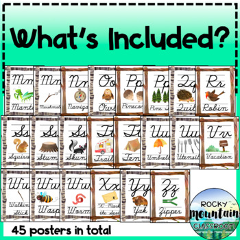 Cursive Alphabet Posters - CAMPING / NATURE themed