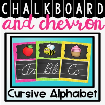 Cursive Alphabet Posters {Chalkboard and Chevron}