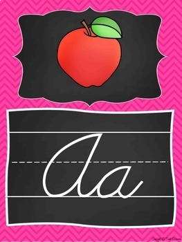 Cursive Alphabet Posters in a Chalkboard and Chevron Classroom Decor Theme