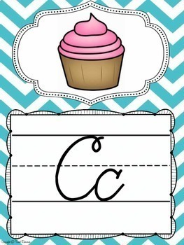 Cursive Alphabet Posters {Chevron Classroom Decor Theme}