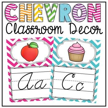 Cursive Alphabet Posters in a Chevron Classroom Decor Theme