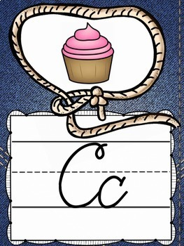 Cursive Alphabet Posters in a Country Western Classroom Decor Theme