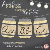 Cursive Alphabet Mason Jars Corn Husk Yellow (Editable)