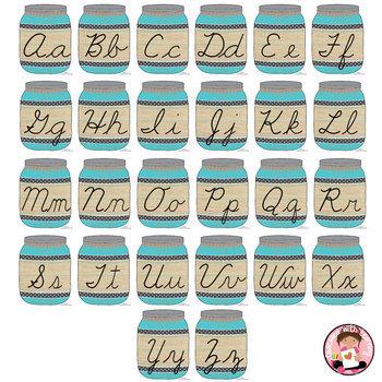 Cursive Alphabet Mason Jars Turquoise (Editable)