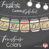 Cursive Alphabet Mason Jars Farmhouse Colors (Editable)