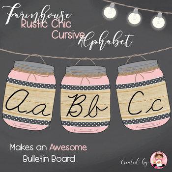 Cursive Alphabet Mason Jars Light Pink (Editable)