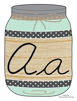 Cursive Alphabet  Mason Jars Mint Green (Editable)