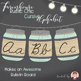 Cursive Alphabet  Mason Jars Mint Green (Editable)