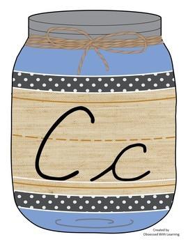 Cursive Alphabet Mason Jars Rainbow Colors (Editable)