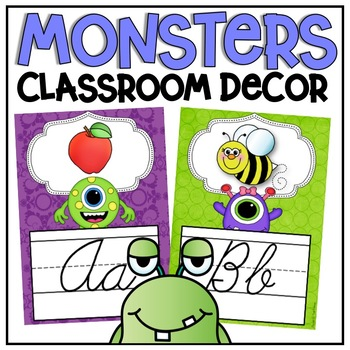 Cursive Alphabet Posters in a Monsters Classroom Decor Theme