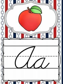 Cursive Alphabet Posters in a Nautical Classroom Decor Theme