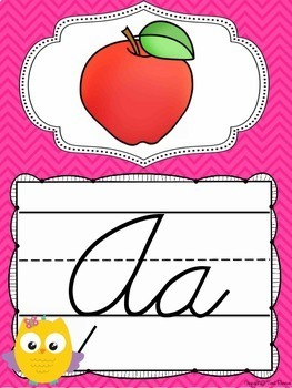 Cursive Alphabet Posters in an Owls and Chevron Decor Theme