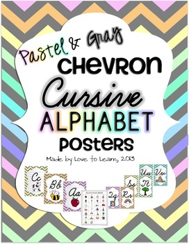 Cursive Alphabet Posters - Pastel & Gray Chevron