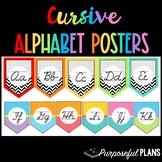 Cursive Alphabet Posters - Polka Dot & Chevron Pastel Clas