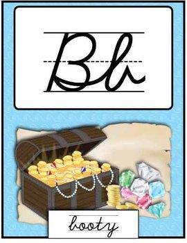 Cursive Alphabet Posters - Pirate Theme