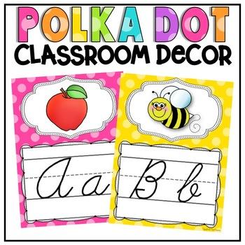 Cursive Alphabet Posters in Polka Dot Brights