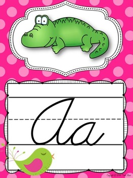 Cursive Alphabet Posters in a Polka Dots and Pretty Birds theme