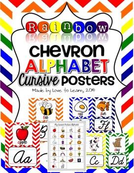 Cursive Alphabet Posters - Rainbow Chevron