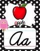Cursive Alphabet Posters - Rainbow Owl with Black & White Polka Dots