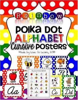 Cursive Alphabet Posters - Rainbow Polka Dot