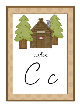 Cursive Alphabet Posters Set - Camping / Forest / Woodland Themed (Tan)