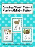 Cursive Alphabet Posters Set - Camping / Forest / Woodland Themed (Turquoise)