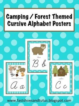 Cursive Alphabet Posters Set - Camping / Forest / Woodland