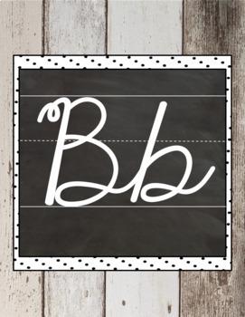 EDITABLE Cursive Alphabet Posters - Shiplap Shabby Chic Theme