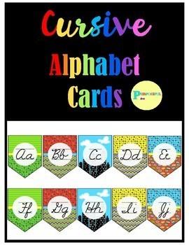 Cursive Alphabet Posters - Superhero Background Classroom Decor Theme