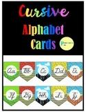 Cursive Alphabet Posters - Superhero Background Classroom