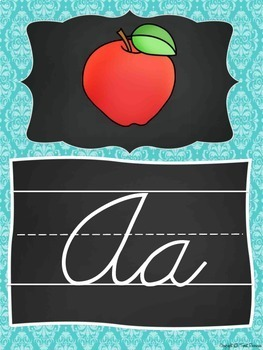 Cursive Alphabet Posters {Teal and Chalkboard Classroom Decor Theme}