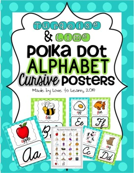 Cursive Alphabet Posters - Turquoise & Lime Polka Dot