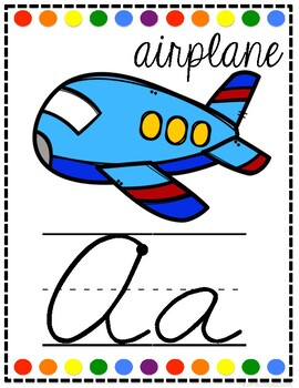 Cursive Alphabet Posters White and Bright Dots