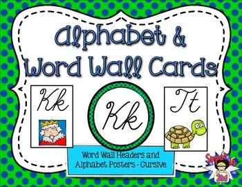 Cursive Alphabet Posters and Word Wall Headers Lime and Navy Dots
