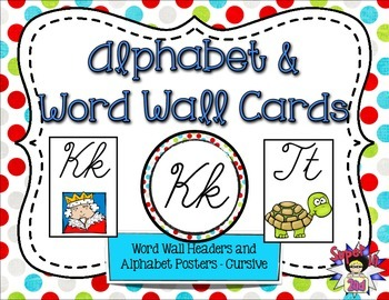 Cursive Alphabet Posters and Word Wall Headers Multi Dots