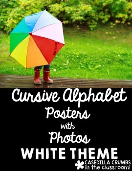 Cursive Alphabet Posters with Real Photos Pictures Photographs Black Theme