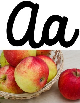 Cursive Alphabet Posters with Real Photos Pictures Photographs White Theme
