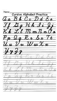 Cursive Alphabet Practice Sheets (includes letter ñ) by Miss Ellie
