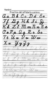Cursive Alphabet Practice Sheets ENGLISH & SPANISH (with ...