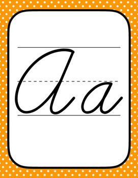 Cursive Alphabet - Rainbow Polkadots!