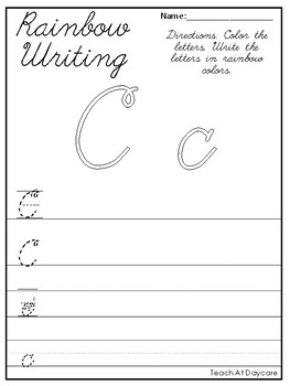 Cursive Alphabet Rainbow Writing Worksheets. 1st-3rd Grade Handwriting