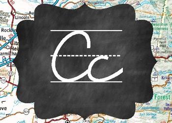 Cursive Alphabet {Travel / Chalkboard Theme}