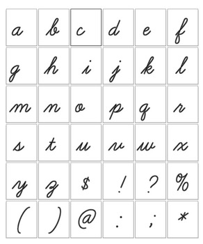 "Digital Stamp  - Bold Cursive Alphabet - Upper- Lowercase -  3"" High - 300 DPI"
